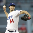 Los Angeles Dodgers starting pitcher Dan Haren throws to a Philadelphia Phillies batter during the first inning of a baseball game Thursday, April 24, 2014, in Los Angeles The Associated Press
