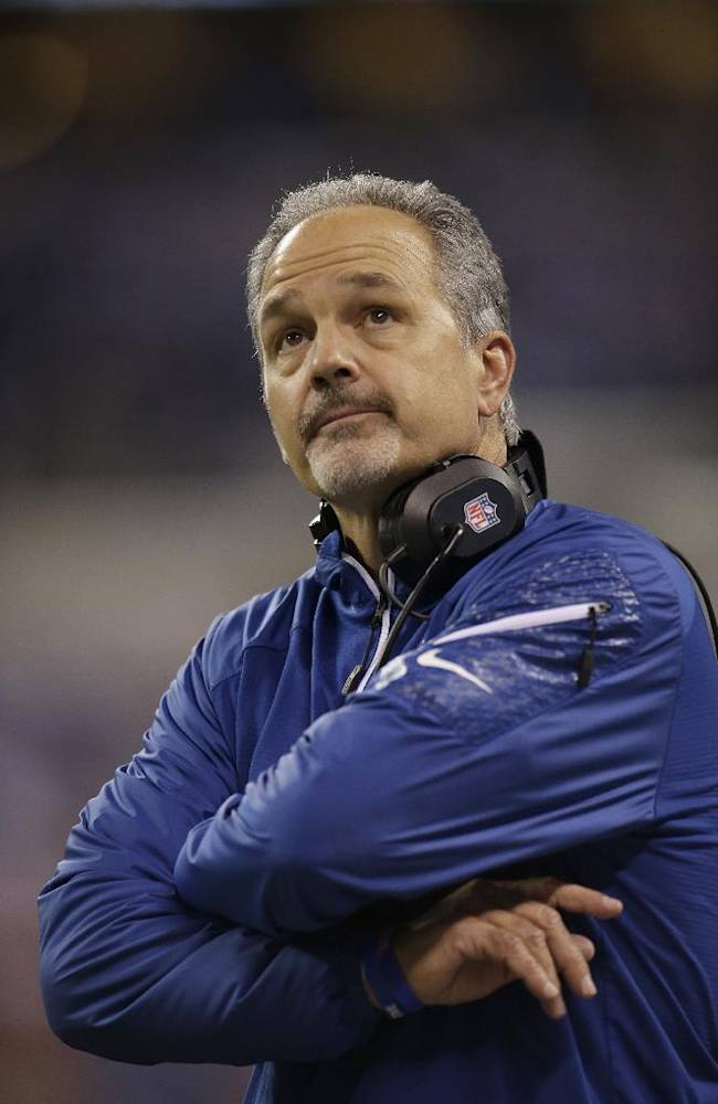 Indianapolis Colts head coach Chuck Pagano looks at the scoreboard during the first half of an NFL football game against the Denver Broncos, Sunday, Oct. 20, 2013, in Indianapolis