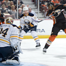 The Ducks' Devante Smith-Pelly gets a shot off against Sabres' goaltender Michal Neuvirth during the first period at Honda Center Wednesday night Oct. 22, 2014 The Associated Press