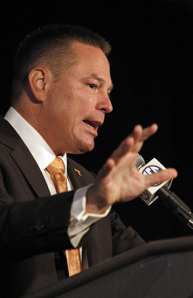 Tennessee Coach Butch Jones speaks to the media at the Southeastern Conference NCAA college football media days, Tuesday, July 15, 2014, in Hoover, Ala