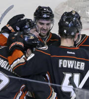 Anaheim Ducks celebrate their goal by center Andrew Cogliano (7) against the Detroit Red Wings in the second period of an NHL hockey game in Anaheim, Calif., Sunday, Jan. 12, 2014. The Ducks won 1-0. (AP Photo/Reed Saxon)