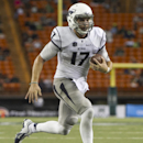 Nevada quarterback Cody Fajardo (17) runs in a touchdown against Hawaii in the third quarter of the NCAA college football game against Hawaii, Saturday, Oct. 25, 2014, in Honolulu. Nevada defeated Hawaii 26-18 The Associated Press