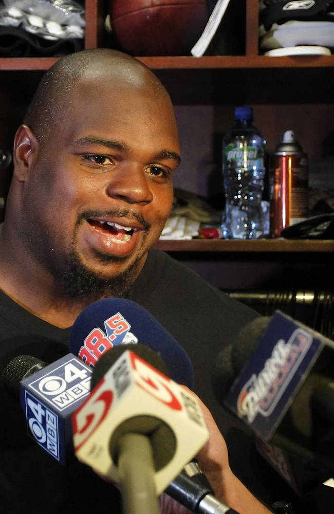 New England Patriots defensive tackle Vince Wilfork speaks with the media in the locker room at Gillette Stadium in Foxborough, Mass., Tuesday, Sept. 10, 2013. The Patriots play the New York Jets on Thursday in Foxborough