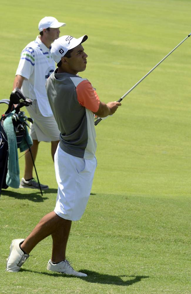 Keoni Vidrine hits a shot during the Southern Amateur Championship golf tournament Wednesday, July 16, 2014, at the Honors Course in Ooltewah, Tenn