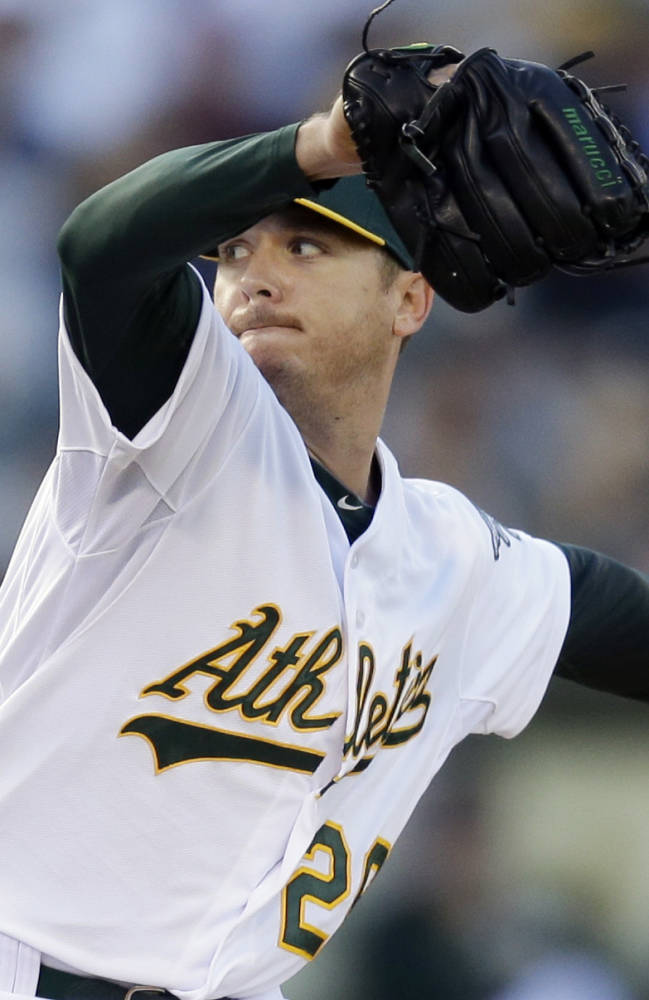 Kazmir takes shutout into sixth, A's top Red Sox