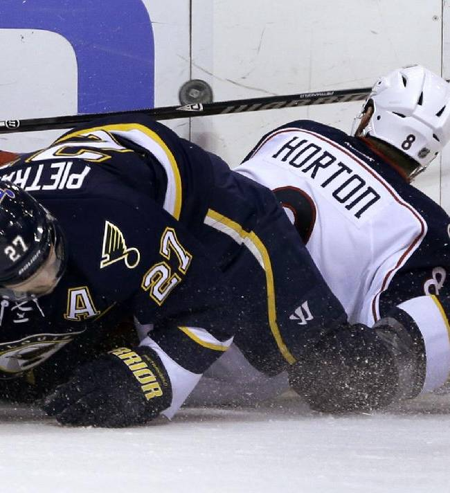 St. Louis Blues' Alex Pietrangelo, left, and Columbus Blue Jackets' Nathan Horton get tangled up along the boards while chasing the puck during the second period of an NHL hockey game Saturday, Jan. 4, 2014, in St. Louis