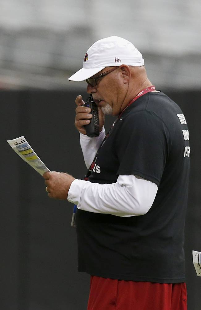Arizona Cardinals head coach Bruce Arians calls in a play during NFL football training camp practice on Wednesday, July 30, 2014, in Glendale, Ariz