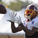 Washington Redskins receiver DeSean Jackson prepares to catch a pass during practice at the team's NFL football training facility, Saturday, July 26, 2014 in Richmond, Va. (AP Photo) The Associated Press