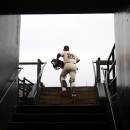 San Francisco Giants catcher Buster Posey (28) runs out to the field before a baseball game against the Arizona Diamondbacks, Thursday, April 10, 2014, in San Francisco The Associated Press