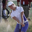 Europe's Charley Hull, from England, blast from a trap on the 15th hole during fourball matches at the Solheim Cup golf tournament on Friday, Aug. 16, 2013, in Parker, Colo. (AP Photo/Ed Andrieski)