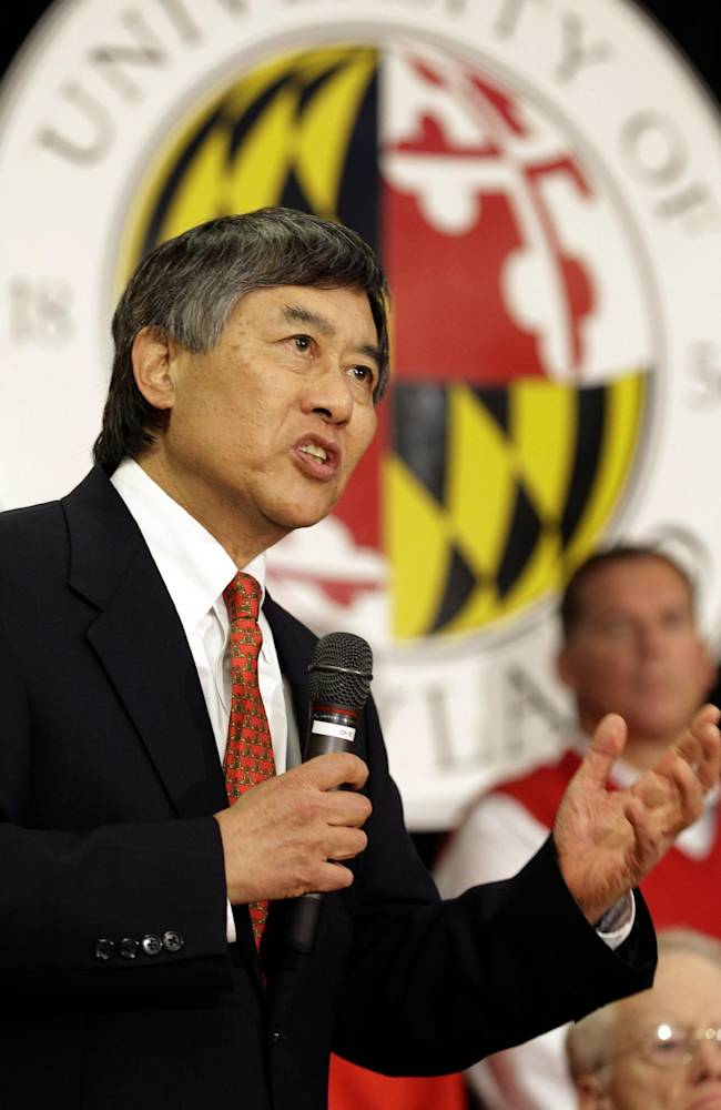 University of Maryland President Wallace Loh speaks at a news conference to announce Maryland's decision to move to the Big Ten NCAA athletic conference in College Park, Md., Monday, Nov. 19, 2012. Maryland is joining the Big Ten, leaving the Atlantic Coast Conference in a shocker of a move in the world of conference realignment