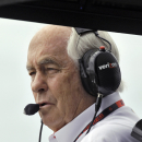 Team owner Roger Penske watches practice for the IndyCar Firestone Grand Prix of St. Petersburg auto race Friday, March 27, 2015, in St. Petersburg, Fla. The race takes place on Sunday. (AP Photo/Chris O'Meara)