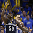 Memphis Grizzlies forward Zach Randolph (50) reacts to a play during the fourth quarter of Game 1 of the opening-round NBA basketball playoff series against Oklahoma City Thunder in Oklahoma City on Saturday, April 19, 2014. Oklahoma City won 100-86 The A