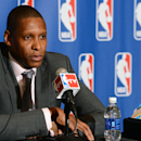 DENVER, CO - MAY 9: Denver Nuggets Executive Vice President of Basketball Operations Masai Ujiri speaks to the media after being named 2012-2013 NBA Executive of the Year on May 9, 2013 at the Pepsi Center in Denver, Colorado. (Photo by Garrett W. Ellwood/NBAE via Getty Images)