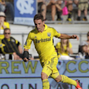 Columbus Crew's Ethan Finlay plays against the Portland Timbers during an MLS soccer match Sunday, July 7, 2013, in Columbus, Ohio. (AP Photo/Jay LaPrete)