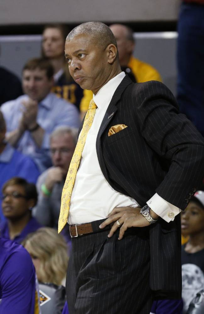 LSU head coach Johnny Jones watches the action during the first half of an NCAA college basketball game in the second round of the NIT Monday, March 24, 2014, in Dallas, Texas