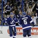Tampa Bay Lightning center Steven Stamkos (91) celebrates with defenseman Jason Garrison (5) after Garrison scored a goal against the Philadelphia Flyers during the third period of an NHL hockey game Thursday, Oct. 30, 2014, in Tampa, Fla. The Lightning w