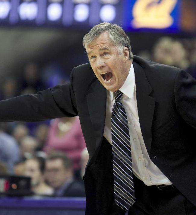 California head coach Mike Montgomery yells during the second half of an NCAA college basketball game against Washington, Saturday, Feb. 15, 2014, in Seattle. California won 72-59