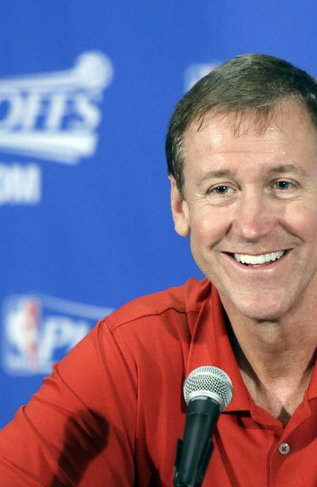 Portland Trail Blazers coach Terry Stotts smiles during a news conference in Portland, Ore., Thursday, April 24, 2014. The Trail Blazers lead the Houston Rockets 2-0 in an NBA basketball first-round playoff series heading into Game 3 in Portland on Friday