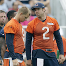 Chicago Bears quarterback Jordan Palmer (2), right, talks to quarterback Jimmy Clausen (8) during NFL football training camp at Olivet Nazarene University on Saturday, July 26, 2014, in Bourbonnais, Ill The Associated Press