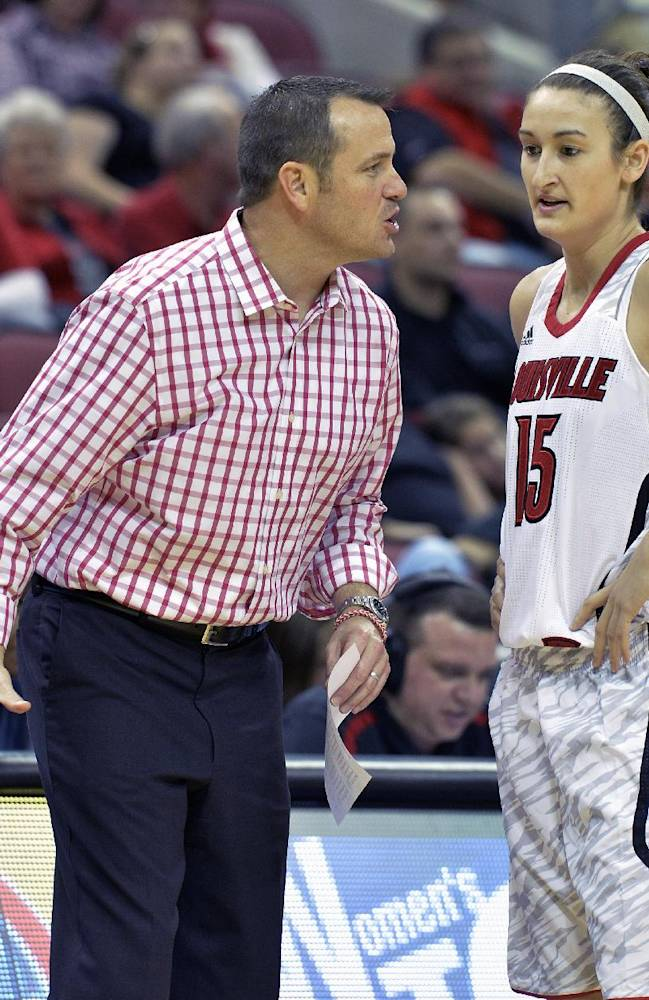 Louisville coach Jeff Walz, left, explains a play to Megan Deines during the second half of an NCAA college basketball game against Loyola Chicago, Saturday, Nov. 9, 2013, in Louisville, Ky. Louisville defeated Loyola Chicago 101-54