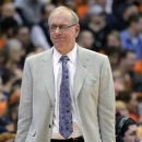 Syracuse coach Jim Boeheim reacts to s call during the second half against DePaul in an NCAA college basketball game in Syracuse, N.Y., Wednesday, March 6, 2013. Syracuse won 78-57. (AP Photo/Kevin Rivoli)