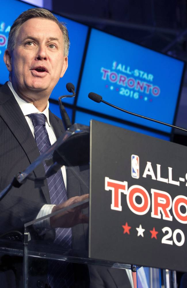 Maple Leafs Sports and Entertainment President and CEO Tim Leiweke speaks at a news conference to announce that the Toronto Raptors will host the 2016 NBA All Star game at a news conference in Toronto on Monday Sept. 30, 2013