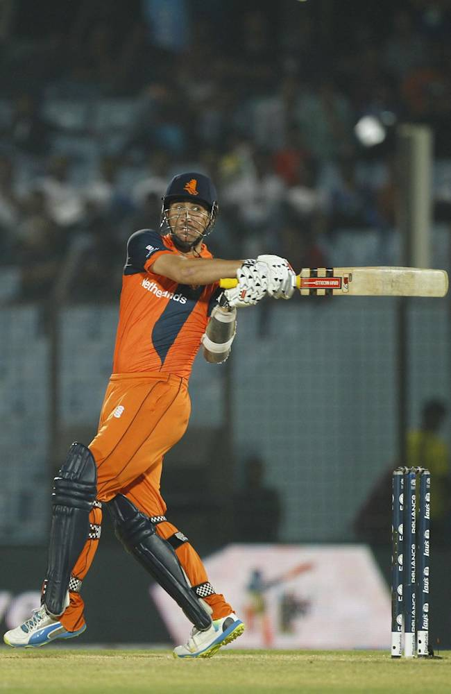 Netherlands's Tom Cooper plays a shot during their ICC Twenty20 Cricket World Cup match against Sri Lanka in Chittagong, Bangladesh, Monday March 24, 2014