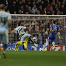 Bucharest's Gabriel Iancu, centre, shoots at goal during the Champions League Group E soccer match between Chelsea and Steaua Bucharest at Stamford Bridge Stadium in London Wednesday, Dec. 11, 2013