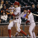 Arizona Diamondbacks' Tony Campana drives in a run with a single against the San Francisco Giants during the 10th inning of a baseball game on Thursday, April 10, 2014, in San Francisco. Arizona won 6-5 The Associated Press