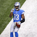 Detroit Lions wide receiver Nate Burleson (13) celebrates a 5-yard touchdown pass against the Tampa Bay Buccaneers during the second quarter of an NFL football game at Ford Field in Detroit, Sunday, Nov. 24, 2013 The Associated Press