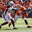 Denver Broncos wide receiver Wes Welker (83) is tackled by Arizona Cardinals cornerback Jerraud Powers (25) during the first half of an NFL football game, Sunday, Oct. 5, 2014, in Denver The Associated Press