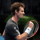 Andy Murray of Britain reacts after winning against Serbia's Viktor Troicki during their semifinal match at the Erste Bank Open tennis tournament in Vienna, Austria, Saturday, Oct. 18. 2014. (AP Photo/Ronald Zak)