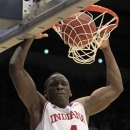 Indiana guard Victor Oladipo dunks against Temple in the second half of a third-round game of the NCAA college basketball tournament, Sunday, March 24, 2013, in Dayton, Ohio. Oladipo led Indiana to a 58-52 win with 16 points. (AP Photo/Skip Peterson)