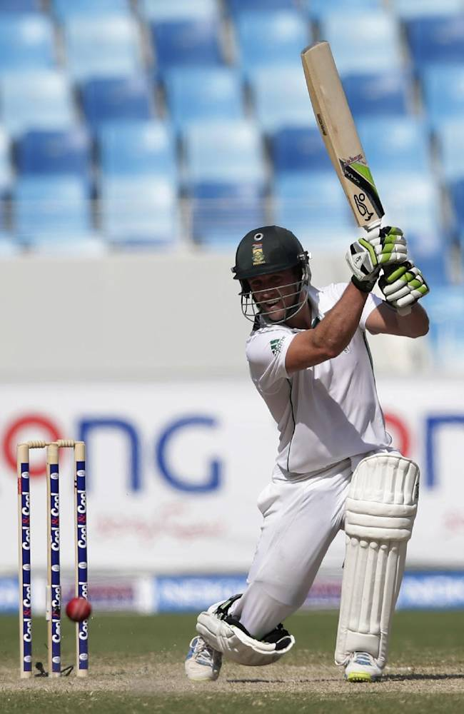 South Africa's Abraham Benjamin de Villiers hits a shot during the second day of the second cricket test match of a two match series between Pakistan and South Africa at the Dubai International Cricket Stadium in Dubai, United Arab Emirates, Thursday, Oct. 24, 2013