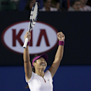 FILE - In this Jan. 25, 2014, file photo, Li Na, of China, celebrates after defeating Dominika Cibulkova, of Slovakia., in the women's singles final at the Australian Open tennis championship in Melbourne, Australia. Li formally announced her retirement on Friday, Sept. 19, 2014. (AP Photo/Aaron Favila, File)