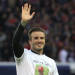 Paris Saint Germain's midfielder David Beckham from England, waves during a training session prior to his French League One soccer match against Brest, at the Parc des Princes stadium, in Paris, Saturday, May 18, 2013. Paris Saint-Germain hopes to strike a deal with David Beckham in the next two weeks in which the former England captain will work with the French club after retirement, possibly in an ambassadorial role. (AP Photo/Thibault Camus)