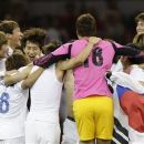 South Korean players celebrate after their 2-0 win over Japan during their bronze medal men's soccer match at the 2012 London Summer Olympics, Friday, Aug. 10, 2012, at the Millennium Stadium in Cardiff, Wales. (AP Photo/Jon Super)