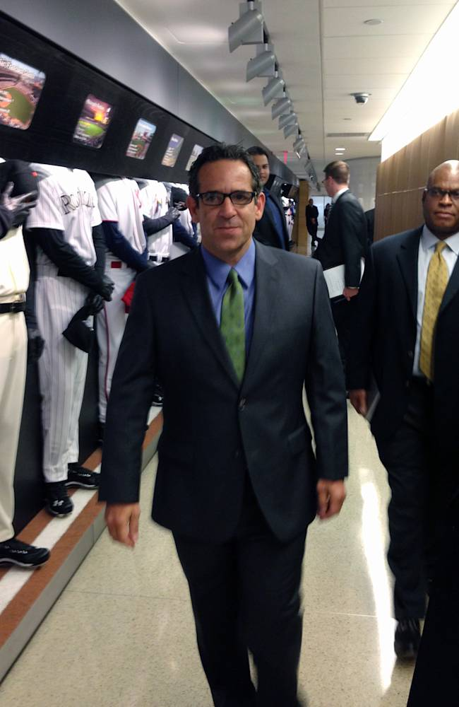 In this photo provided by Fitzpatrick Communications, Anthony Bosch is escorted by Major League Baseball security person Ric Burnham, right, at MLB headquarters in New York, Monday, Sept. 30, 2013. Bosch is the founder of the now-closed Biogenesis of America. In a hearing room before arbitrator Fredric Horowitz, lawyers for the New York Yankees third baseman Alex Rodriguez will argue why the 211-game suspension imposed by Major League Baseball on Aug. 5 should be overturned. Rodriguez was suspended for his involvement with the now-closed Biogenesis of America clinic in Coral Gables, Fla