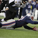 New England Patriots outside linebacker Jamie Collins (91) recovers a fumble by Baltimore Ravens quarterback Joe Flacco (5) after a sack in the second half of an NFL divisional playoff football game Saturday, Jan. 10, 2015, in Foxborough, Mass. The Patrio