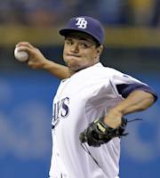 Tampa Bay Rays starting pitcher Chris Archer delivers to New York Yankees' Brett Gardner during the first inning of a baseball game on Friday, Aug. 23, 2013, in St. Petersburg, Fla. (AP Photo/Chris O'Meara)