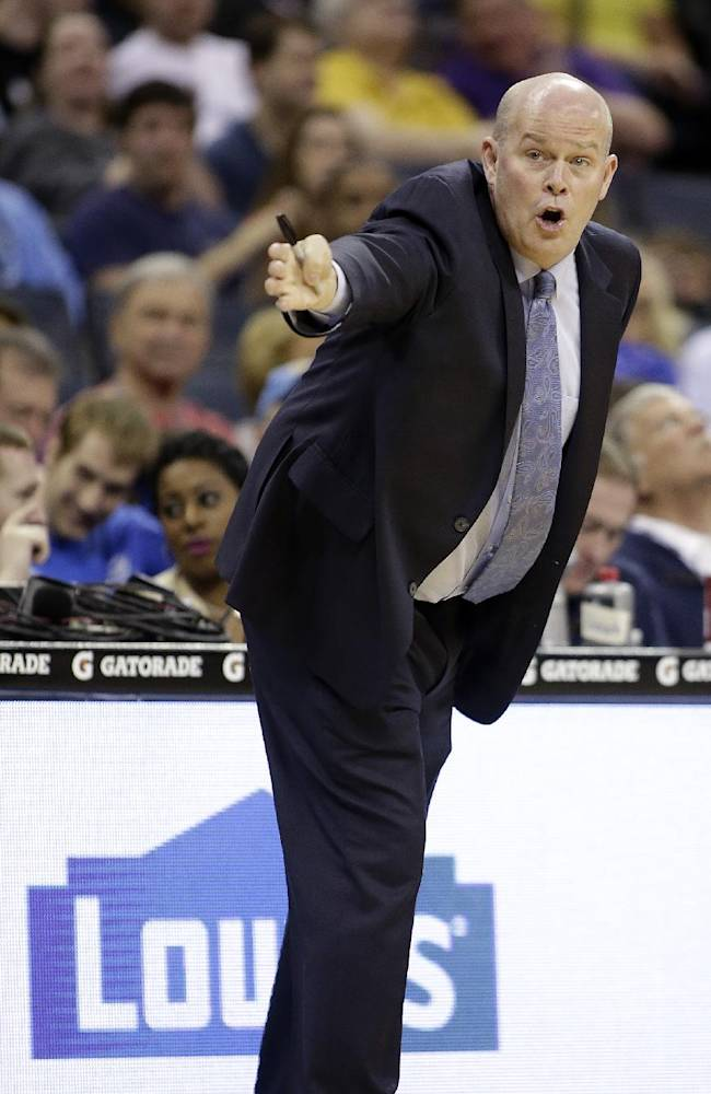 Charlotte Bobcats coach Steve Clifford argues a call during the first half of an NBA basketball game against the Portland Trail Blazers in Charlotte, N.C., Saturday, March 22, 2014. The Bobcats won 124-94