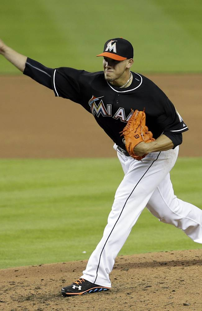 Miami Marlins' Jose Fernandez pitches against the San Diego Padres in the third inning of a baseball game in Miami, Saturday, April 5, 2014. The Marlins won 5-0