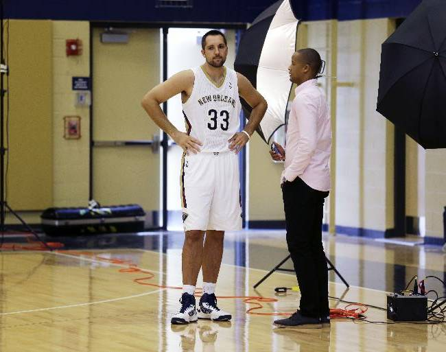 New Orleans Pelicans power forward Ryan Anderson (33) stands away from the media at their NBA basketball media day in Metairie, La., Monday, Sept. 30, 2013