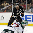 Minnesota Wild goalie Josh Harding, right, stops a shot by Anaheim Ducks right wing Teemu Selanne (8), of Finland in the second period of an NHL hockey game Wednesday, Dec. 11, 2013 in Anaheim, Calif The Associated Press