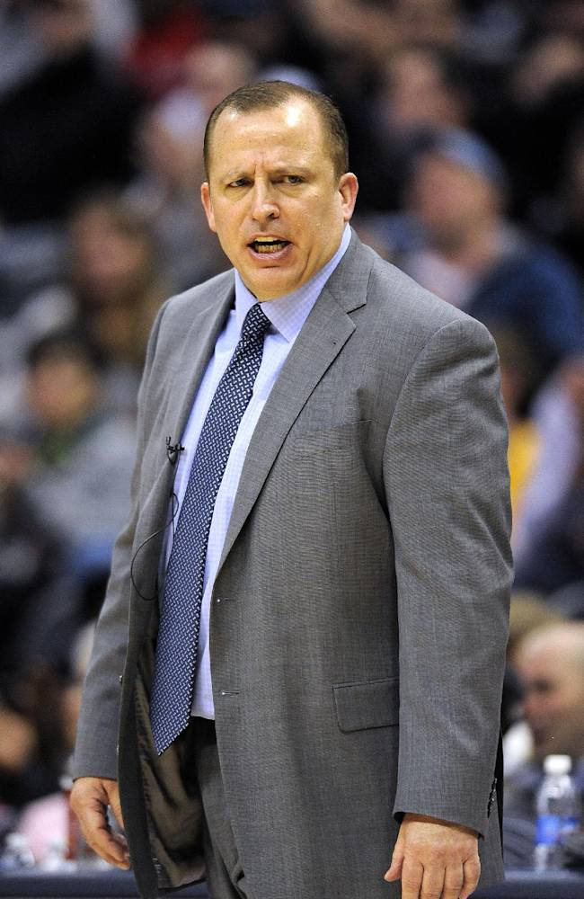 Chicago Bulls head coach Tom Thibodeau in the second half of an NBA basketball game against the Denver Nuggets on Thursday, Nov. 21, 2013, in Denver. The Nuggets won 97-87