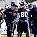 Houston Texans' coach Bill O'Brien, left, talks with wide receiver Andre Johnson (80) during an NFL football training camp on Saturday, July 26, 2014, in Houston The Associated Press