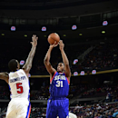 AUBURN HILLS, MI - DECEMBER 6: Hollis Thompson #31 of the Philadelphia 76ers takes a shot against the Detroit Pistons on December , 2014 at The Palace of Auburn Hills in Auburn Hills, Michigan. (Photo by Allen Einstein/NBAE via Getty Images)