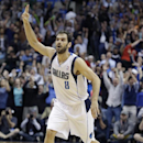 Dallas Mavericks guard Jose Calderon gestures after hitting a 3-point shot against Oklahoma City Thunder during the fourth quarter of an NBA basketball game Tuesday, March 25, 2014, in Dallas. The Mavericks won 128-119 in overtime The Associated Press
