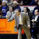 Pittsburgh head coach Jamie Dixon cheers on his team during the second half of an NCAA college basketball game against DePaul Saturday, March 9, 2013, in Rosemont, Ill. Pittsburgh won 81-66. (AP Photo/Charles Rex Arbogast)